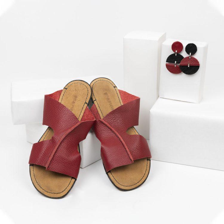 Sandalo Fascia rosso + orecchini Mezzaluna tondo