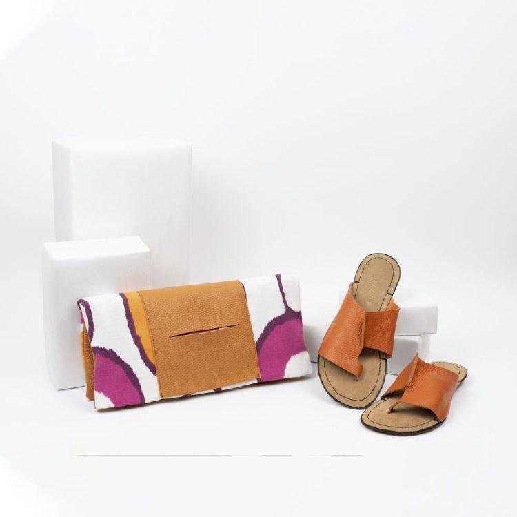 Borsa Tagliomano + sandalo infradito arancione